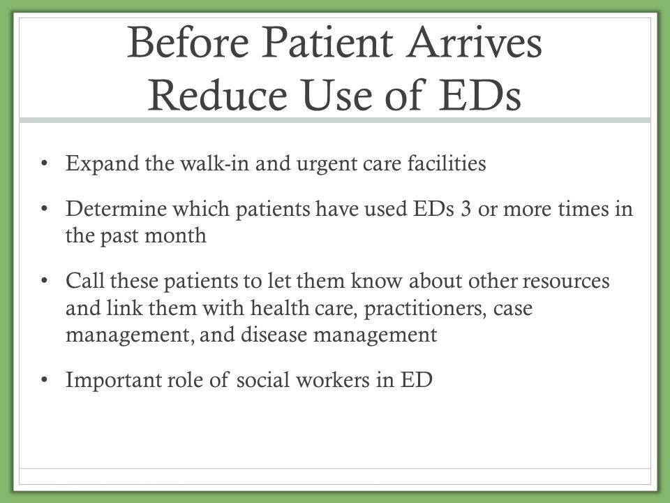 Before Patient Arrives Reduce Use of EDs