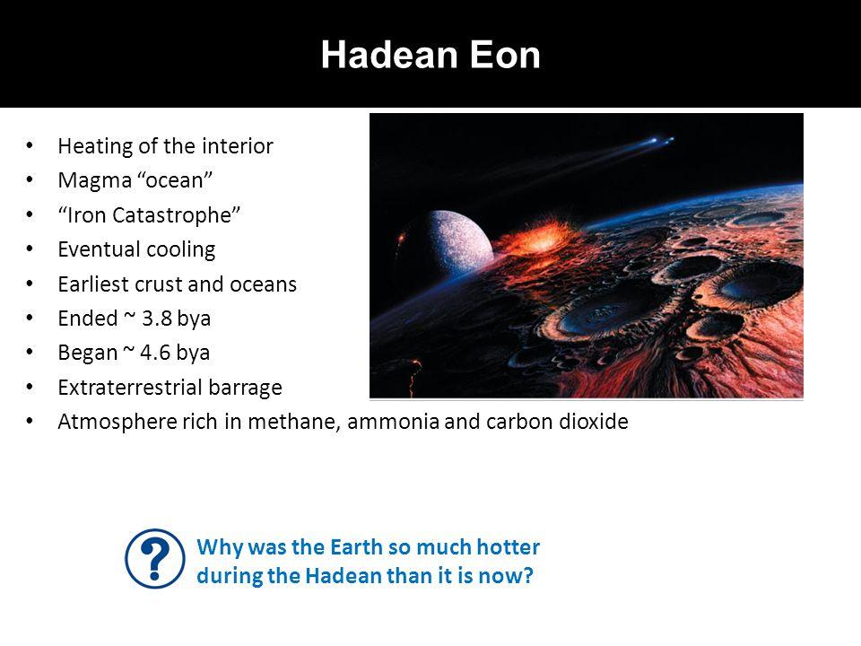 Hadean Eon Heating of the interior Magma ocean Iron Catastrophe