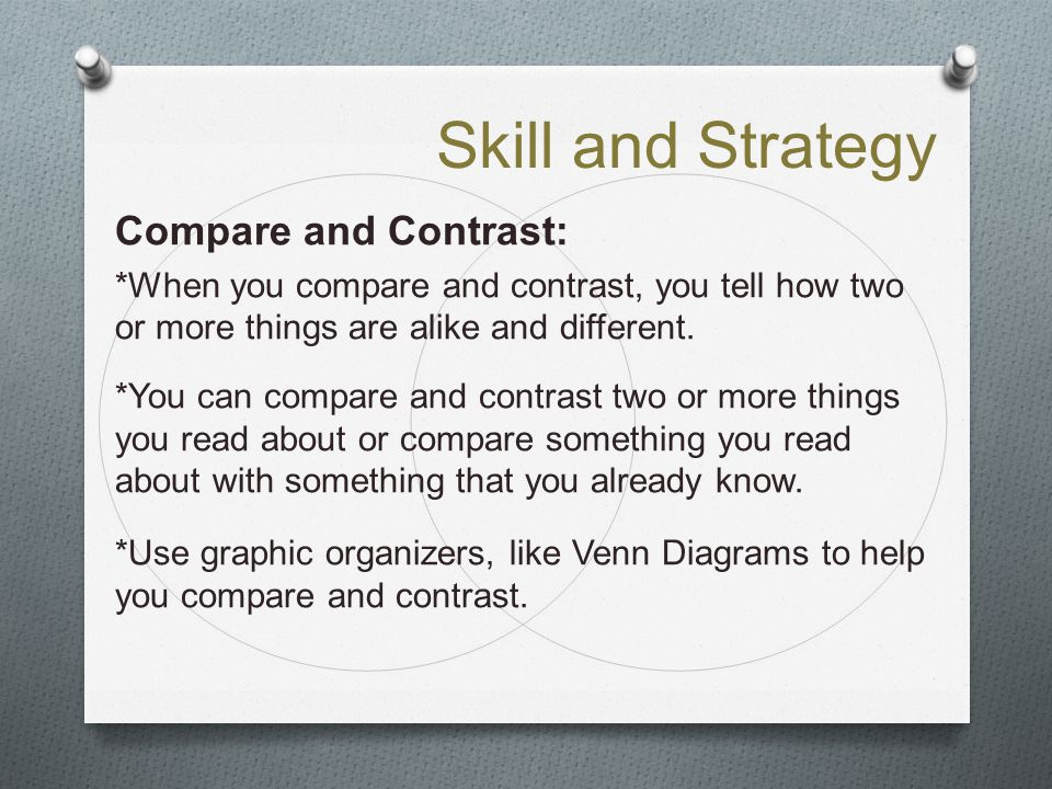 Skill and Strategy Compare and Contrast: