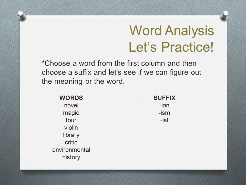 Word Analysis Let's Practice!