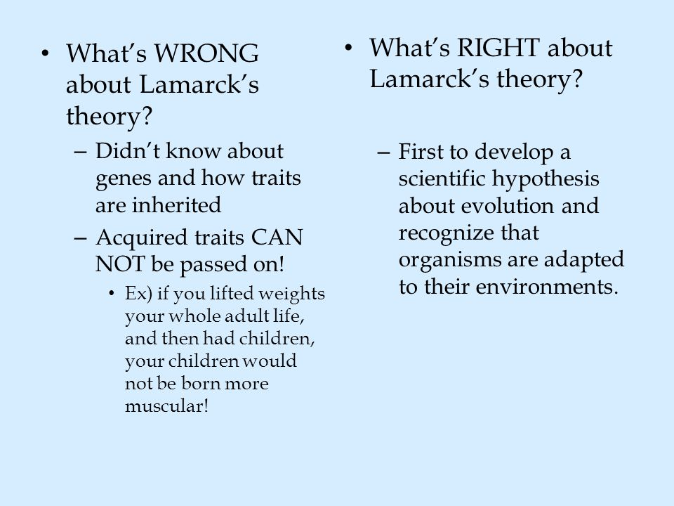 What's RIGHT about Lamarck's theory