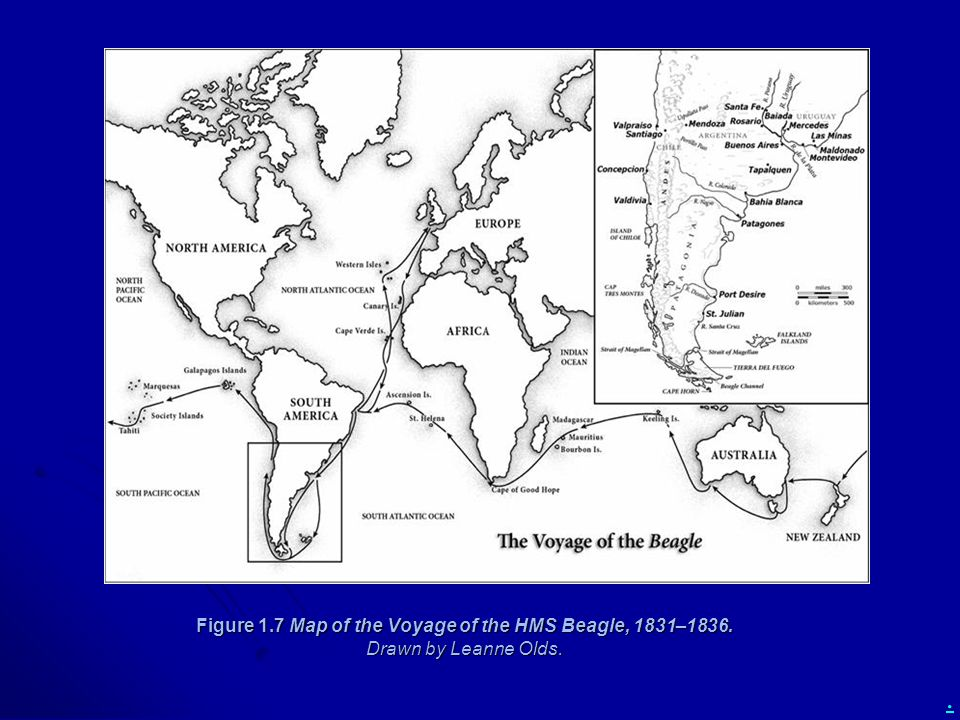 Figure 1. 7 Map of the Voyage of the HMS Beagle, 1831–1836