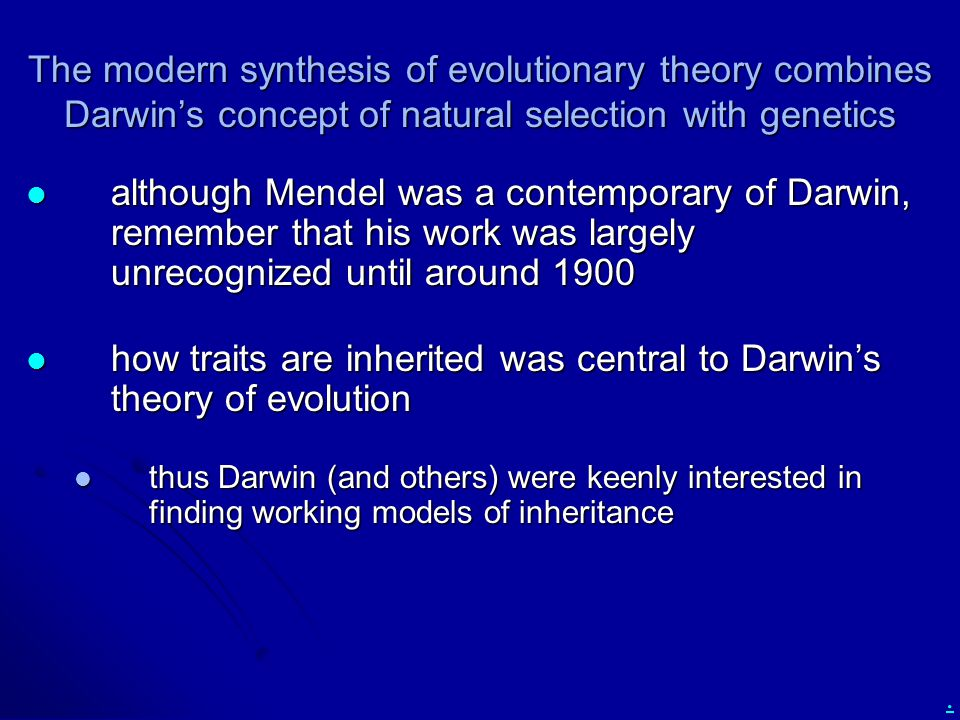 how traits are inherited was central to Darwin's theory of evolution