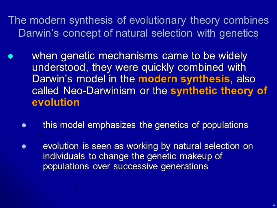 The modern synthesis of evolutionary theory combines Darwin's concept of natural selection with genetics