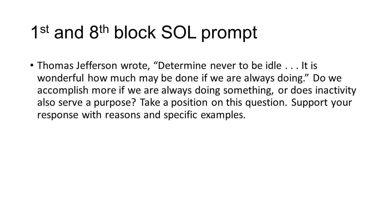 1st and 8th block SOL prompt