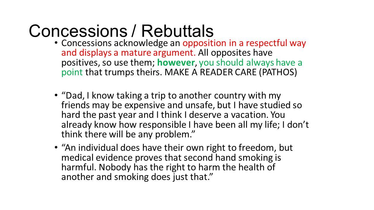Concessions / Rebuttals
