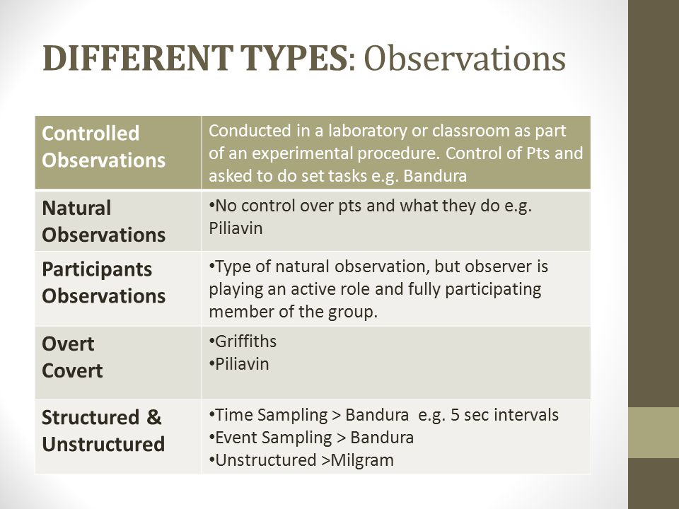 DIFFERENT TYPES: Observations