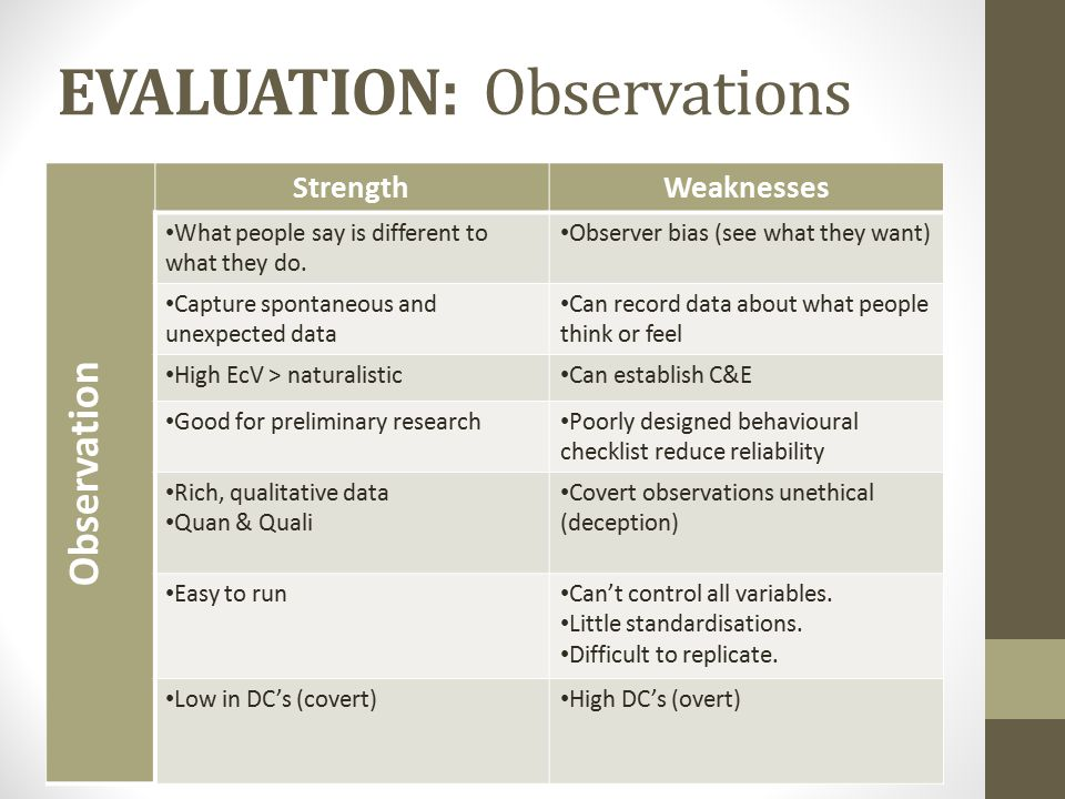 EVALUATION: Observations