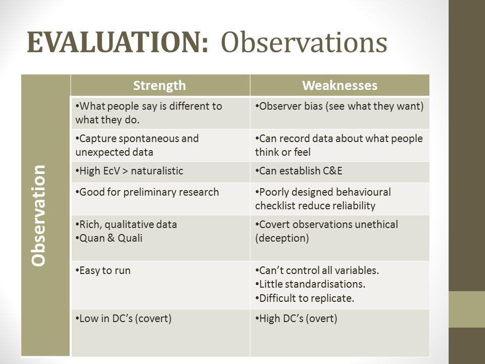 EVALUATION: Observations