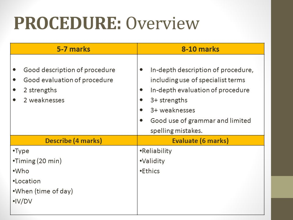 PROCEDURE: Overview 5-7 marks 8-10 marks Good description of procedure