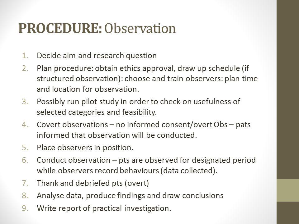 PROCEDURE: Observation