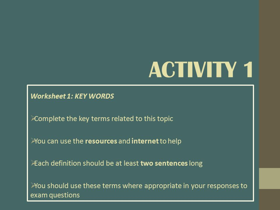 Activity 1 Worksheet 1: KEY WORDS