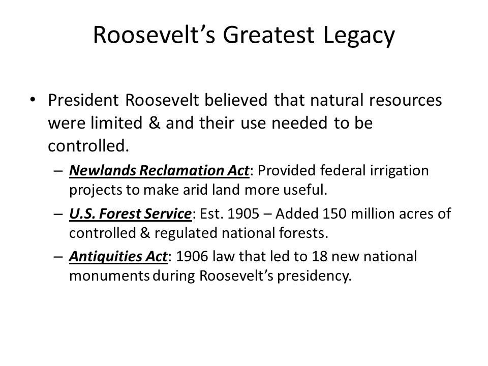 Roosevelt's Greatest Legacy