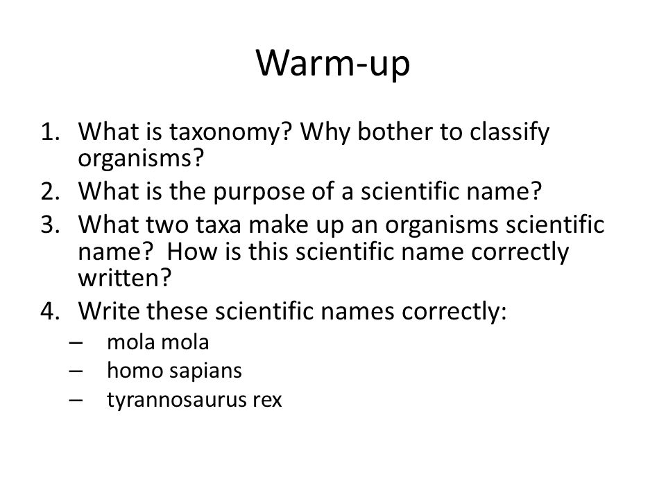 Warm-up What is taxonomy Why bother to classify organisms