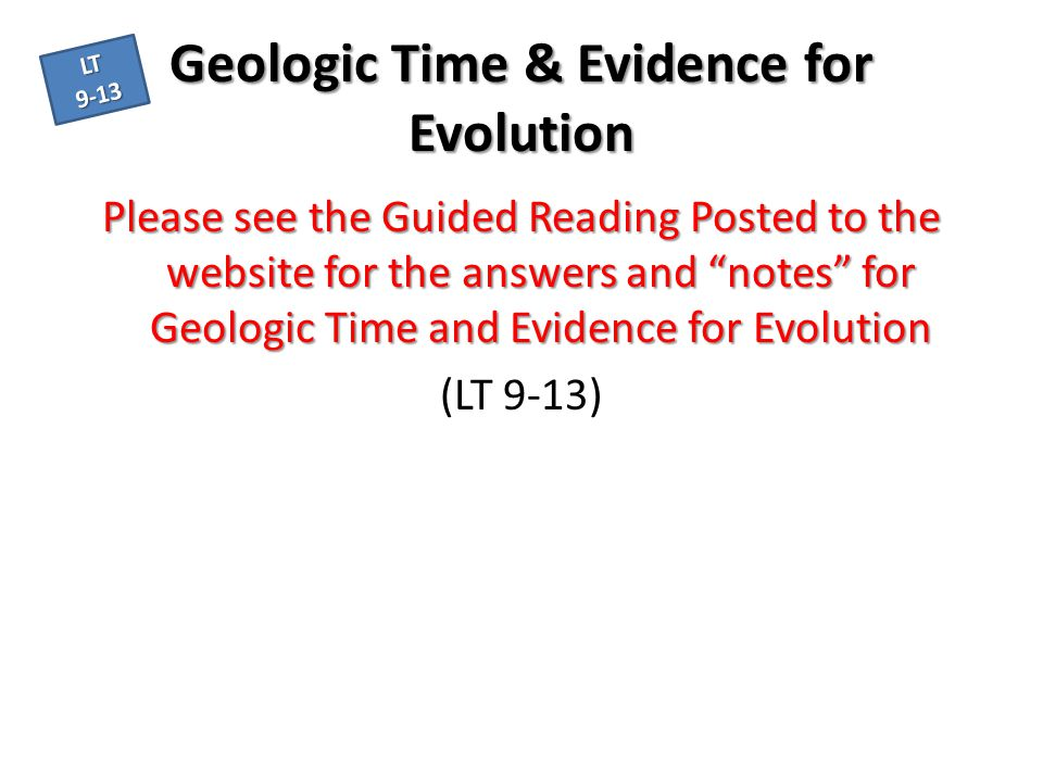 Geologic Time & Evidence for Evolution