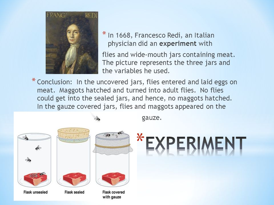 In 1668, Francesco Redi, an Italian physician did an experiment with
