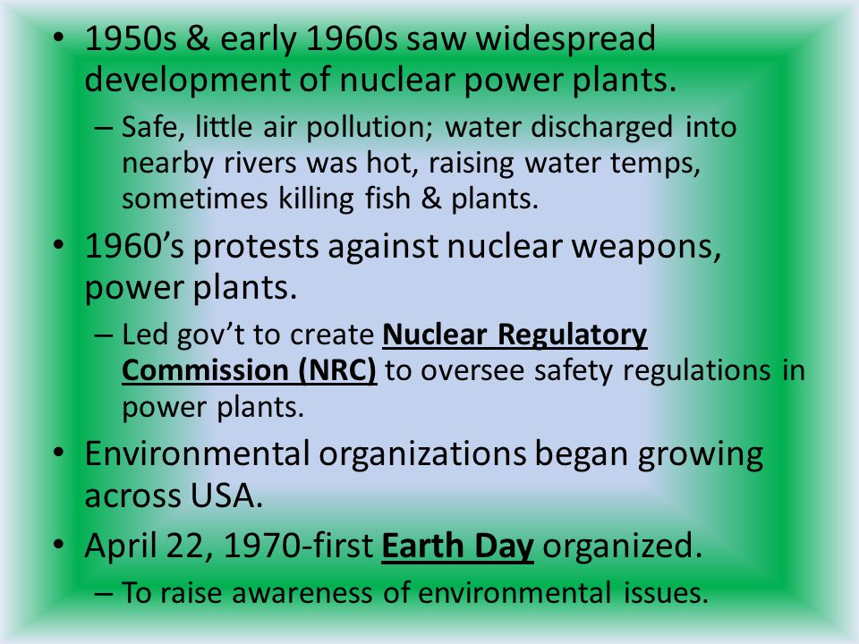 1960's protests against nuclear weapons, power plants.