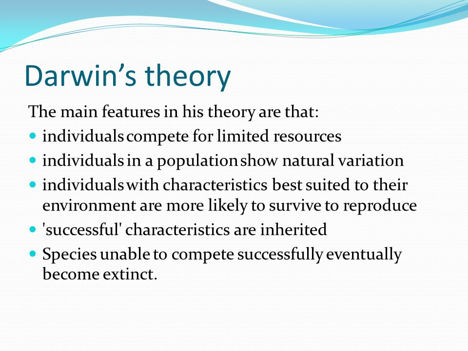 Darwin's theory The main features in his theory are that: