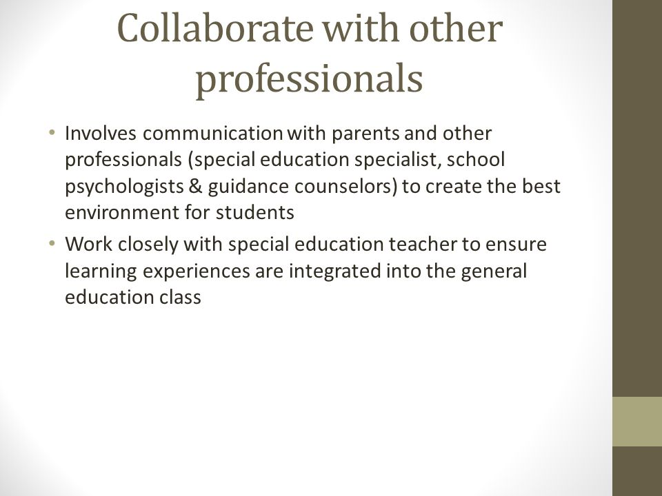 Collaborate with other professionals