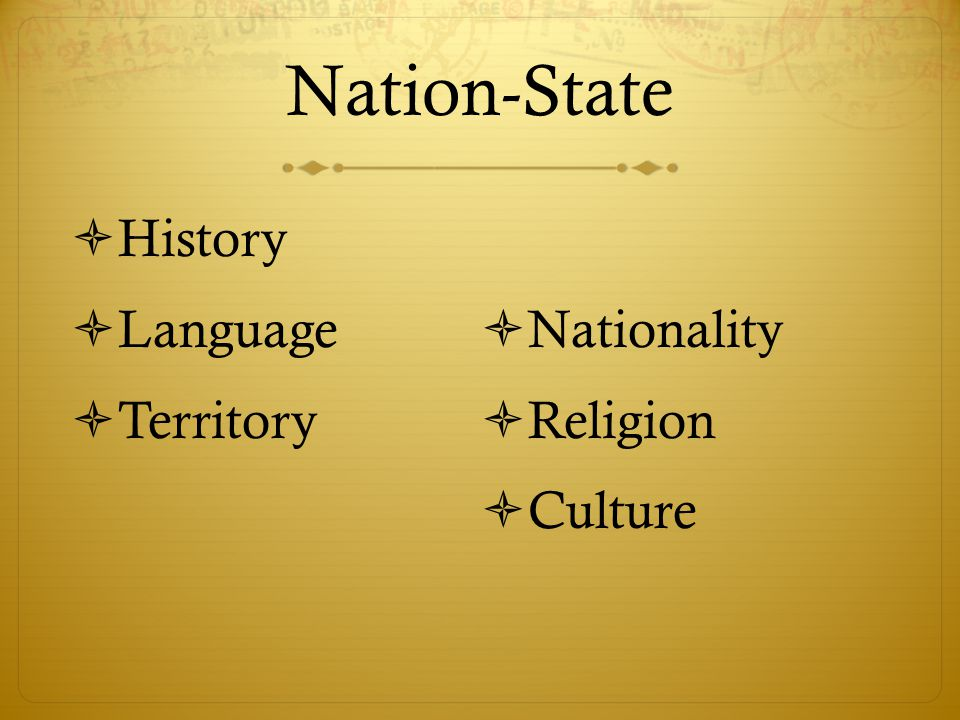 Nation-State History Language Nationality Territory Religion Culture