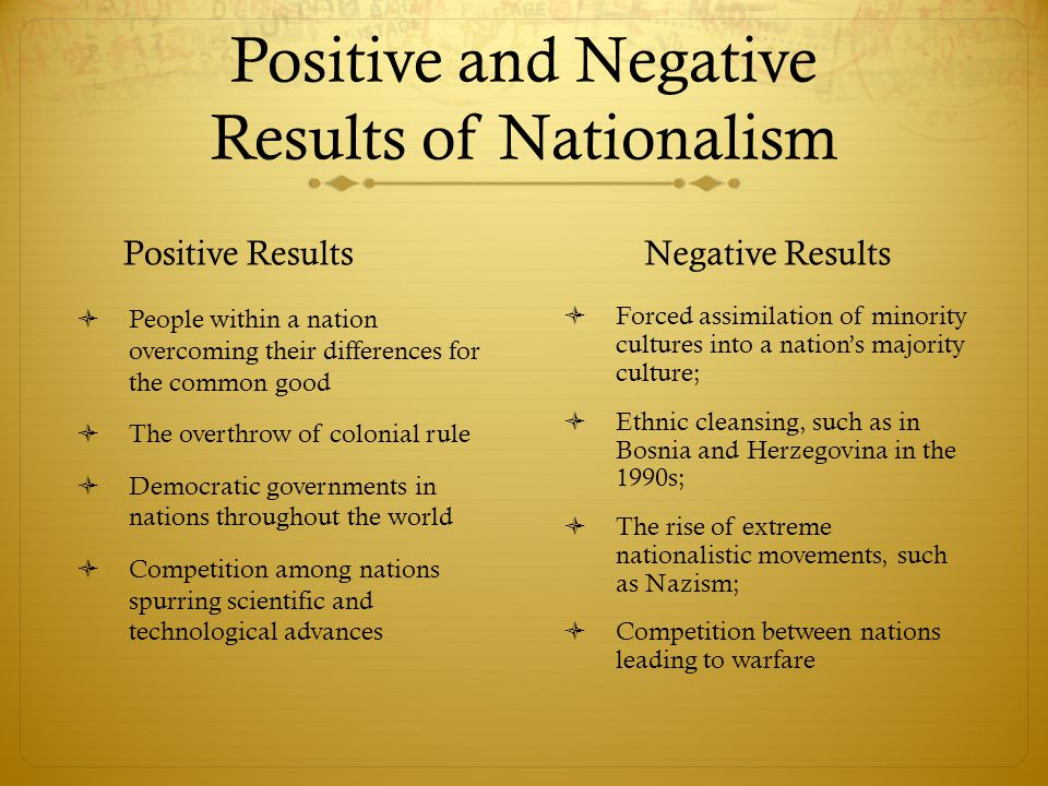 Positive and Negative Results of Nationalism