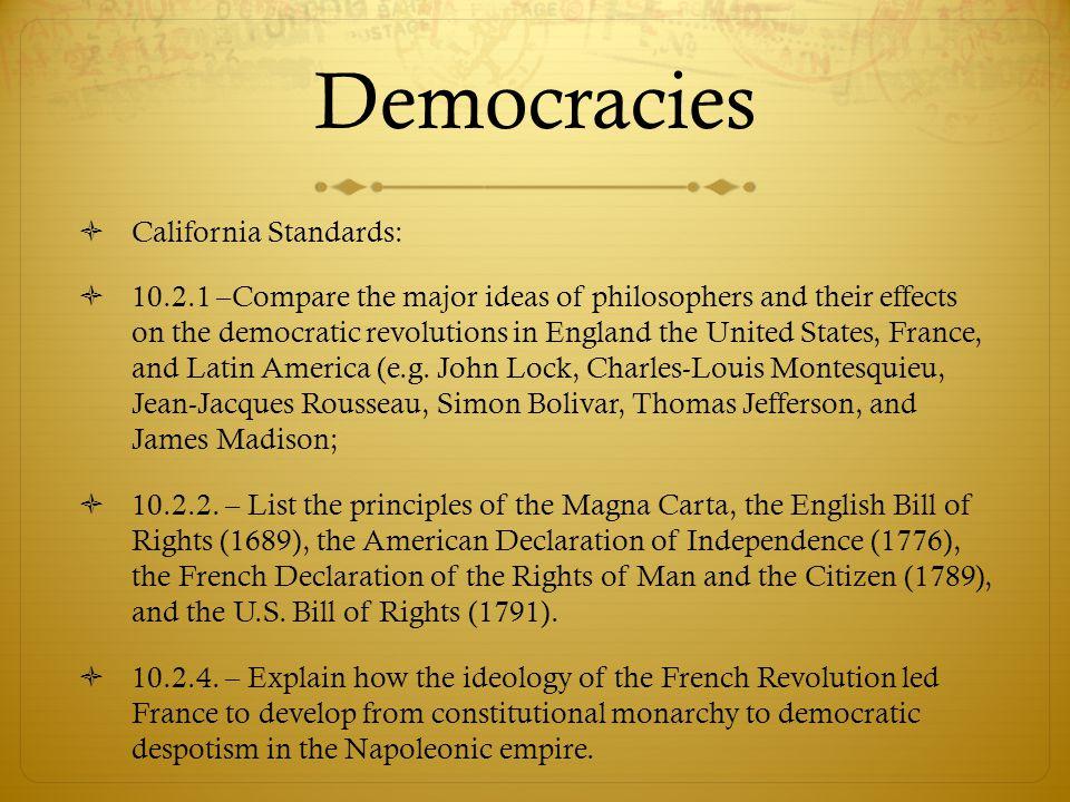 Democracies California Standards: