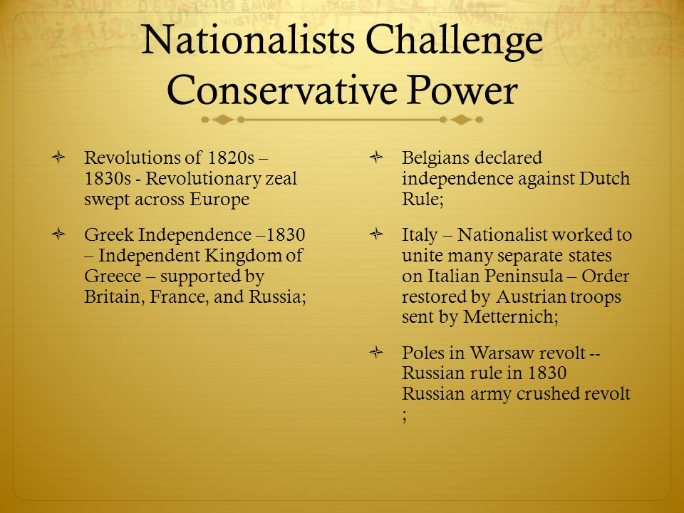 Nationalists Challenge Conservative Power