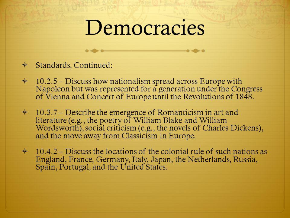 Democracies Standards, Continued: