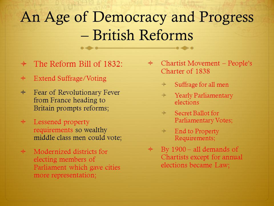 An Age of Democracy and Progress – British Reforms