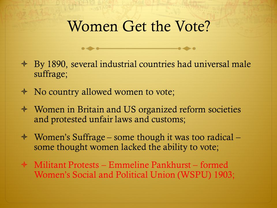 Women Get the Vote By 1890, several industrial countries had universal male suffrage; No country allowed women to vote;
