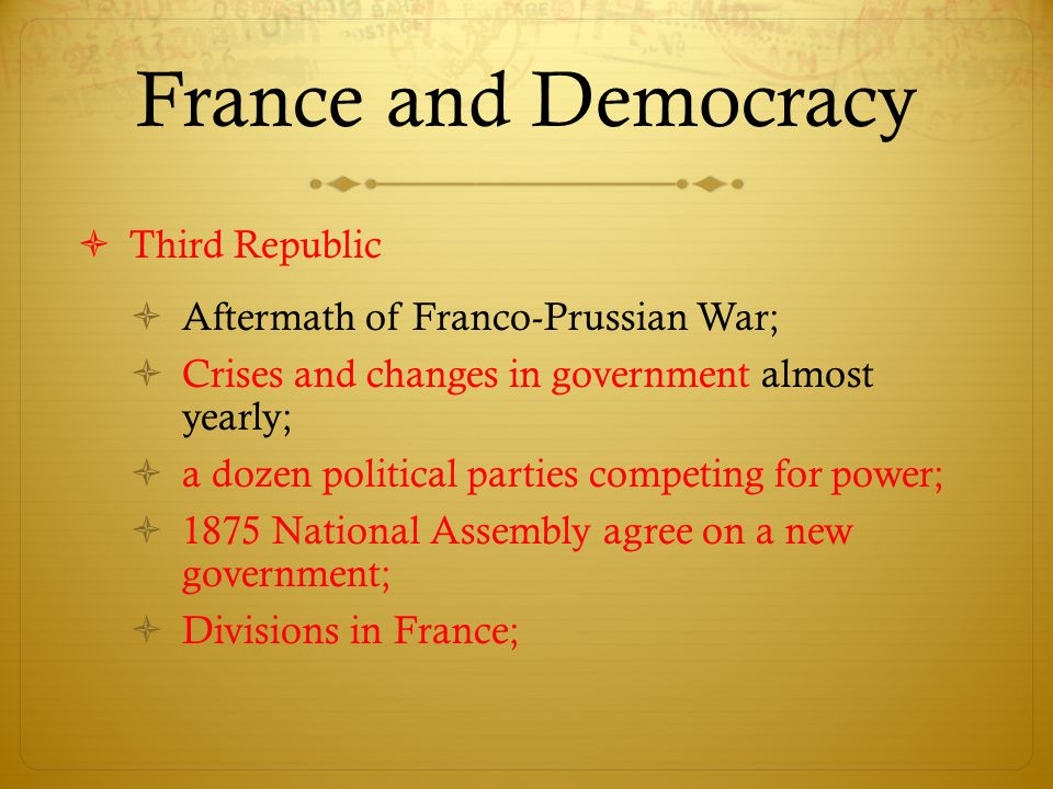 France and Democracy Third Republic Aftermath of Franco-Prussian War;