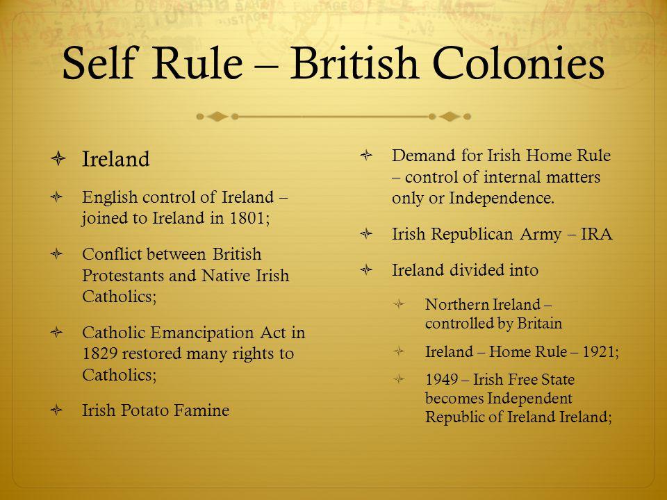 Self Rule – British Colonies
