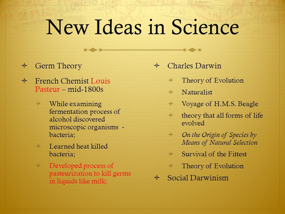 New Ideas in Science Germ Theory