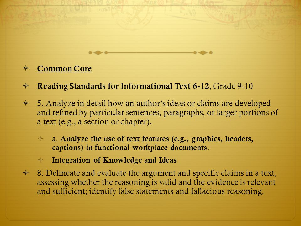 Reading Standards for Informational Text 6-12, Grade 9-10