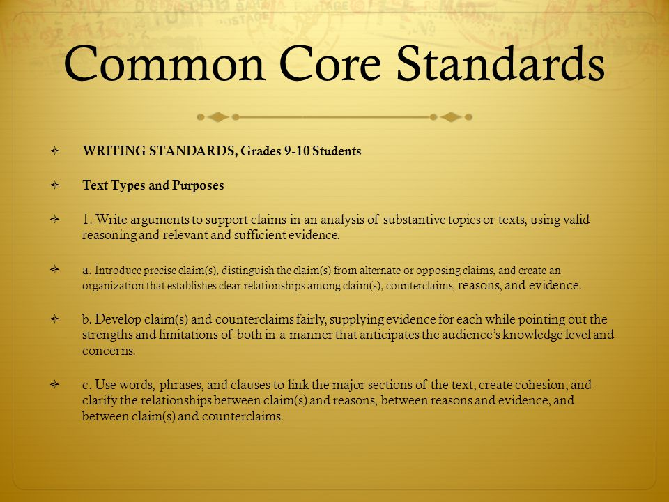 Common Core Standards WRITING STANDARDS, Grades 9-10 Students