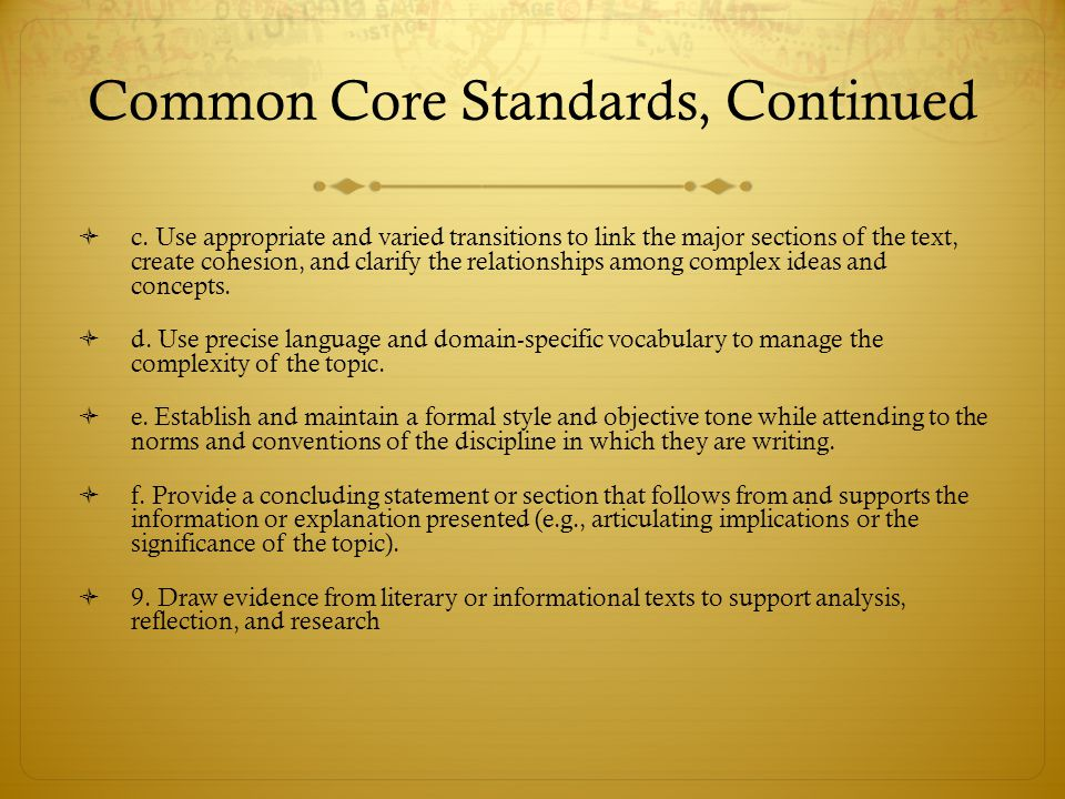 Common Core Standards, Continued
