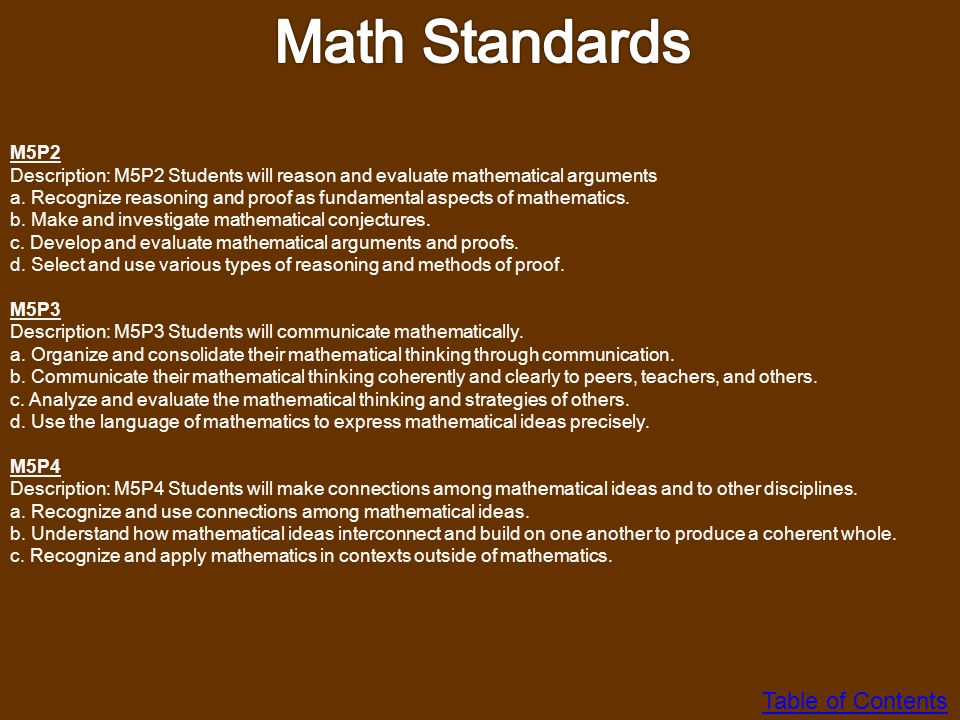 Math Standards Table of Contents M5P2