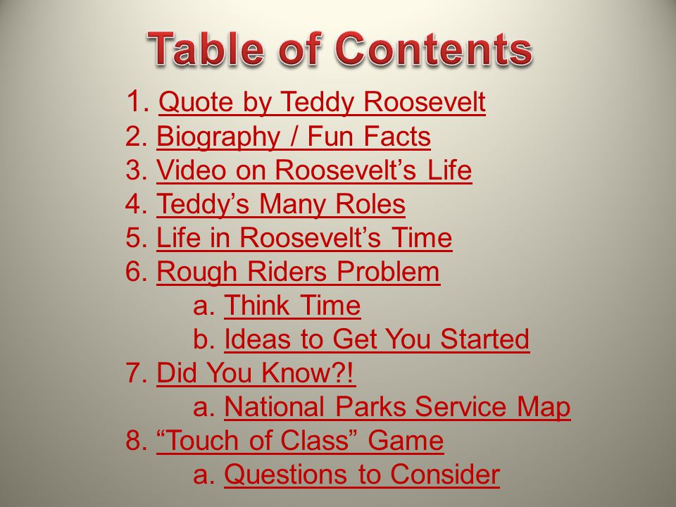 Table of Contents 1. Quote by Teddy Roosevelt 2. Biography / Fun Facts