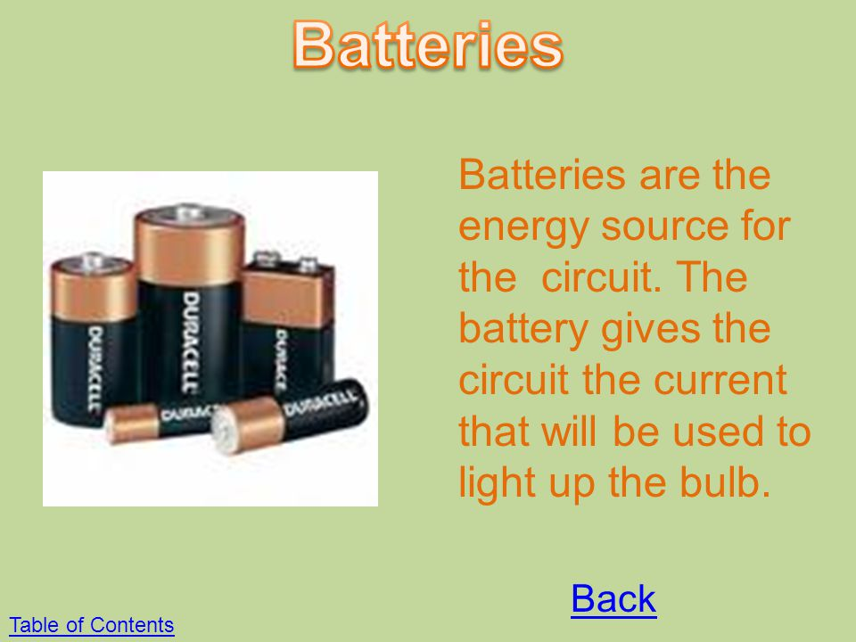 Batteries Batteries are the energy source for the circuit. The battery gives the circuit the current that will be used to light up the bulb.