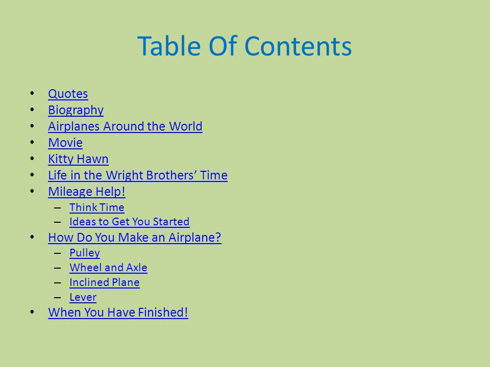 Table Of Contents Quotes Biography Airplanes Around the World Movie