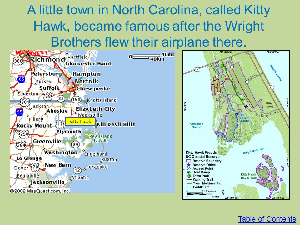 A little town in North Carolina, called Kitty Hawk, became famous after the Wright Brothers flew their airplane there.