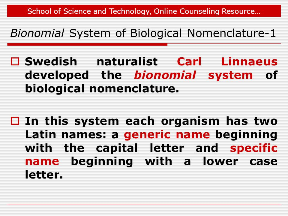 Bionomial System of Biological Nomenclature-1
