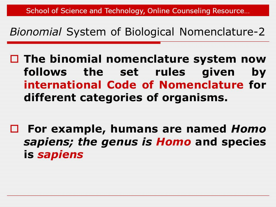 Bionomial System of Biological Nomenclature-2