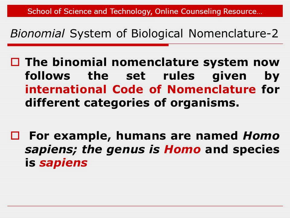 Bionomial System of Biological Nomenclature-2