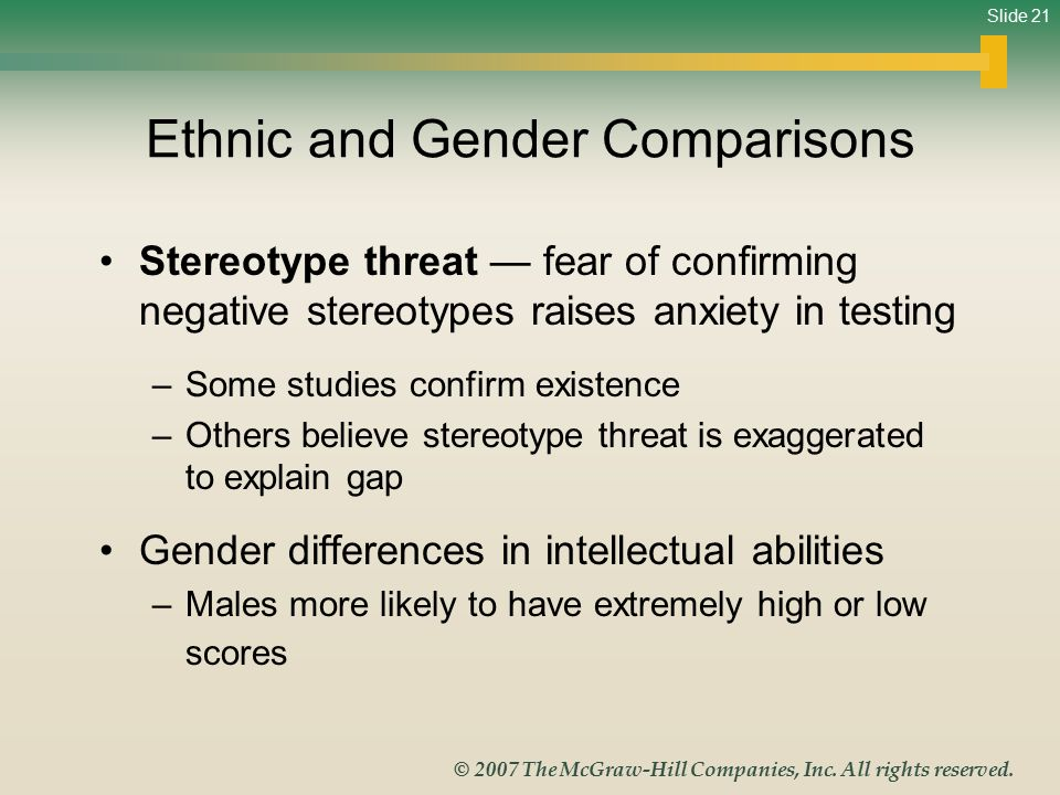 Ethnic and Gender Comparisons