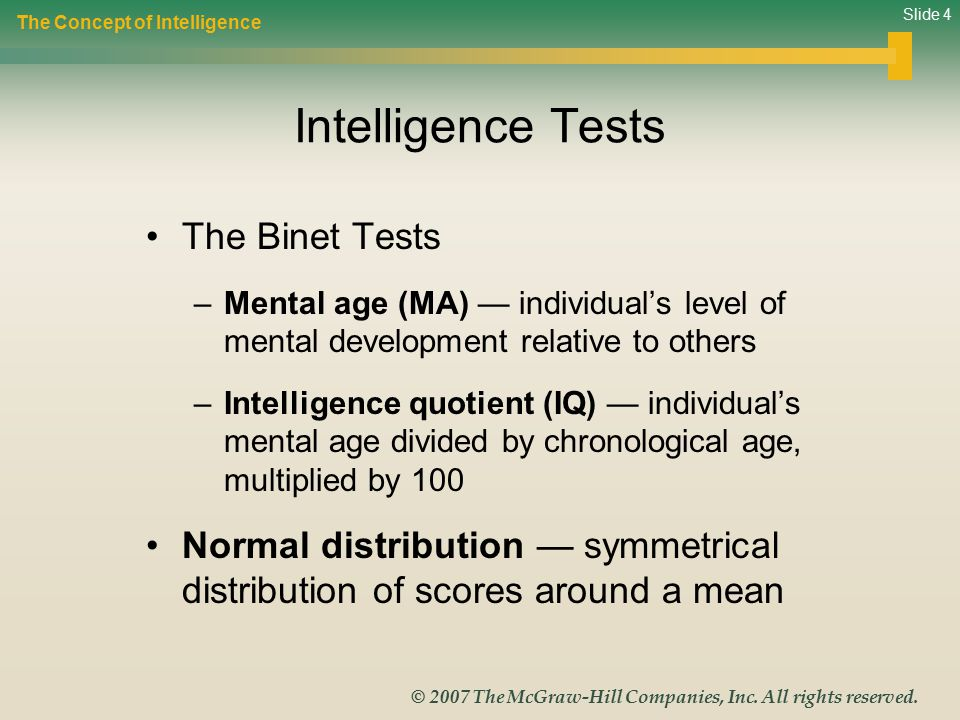 Intelligence Tests The Binet Tests