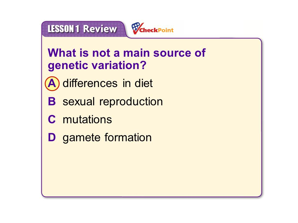 What is not a main source of genetic variation A differences in diet