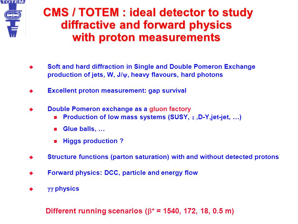 CMS / TOTEM : ideal detector to study diffractive and forward physics with proton measurements