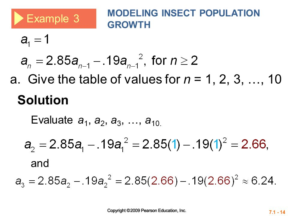 a. Give the table of values for n = 1, 2, 3, …, 10