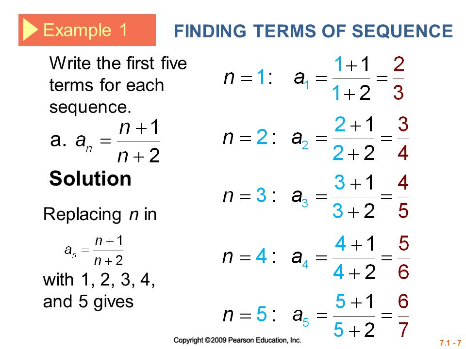 a. Solution Example 1 FINDING TERMS OF SEQUENCE